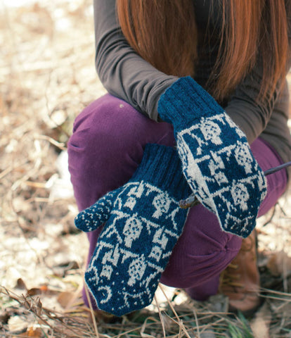 O.W.L. Knitted Mittens Knitting Pattern DownloadImage