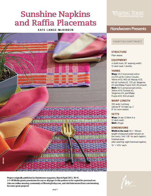 Sunshine Napkins and Raffia Placemats Weaving Pattern DownloadImage