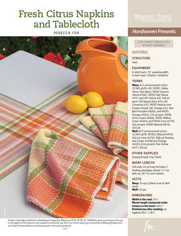 Fresh Citrus Napkins Weaving Pattern DownloadImage