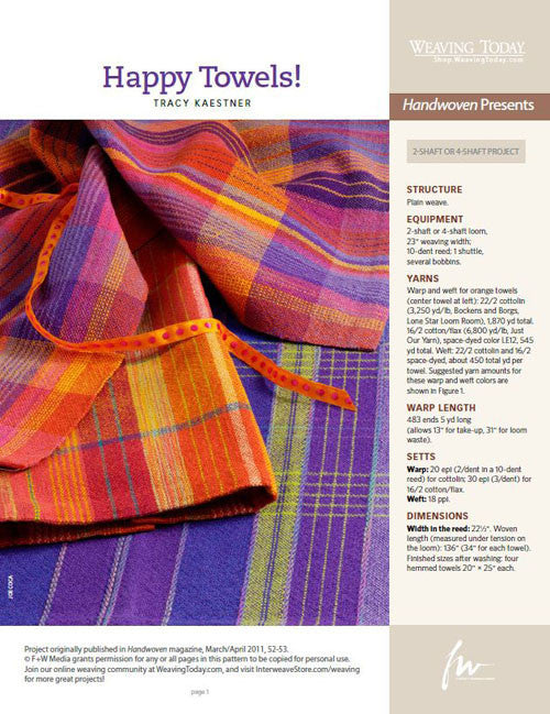 Happy Towels Weaving Pattern DownloadImage