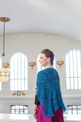 Strolling Round the Square Beaded Shawlette Knitting Pattern DownloadImage