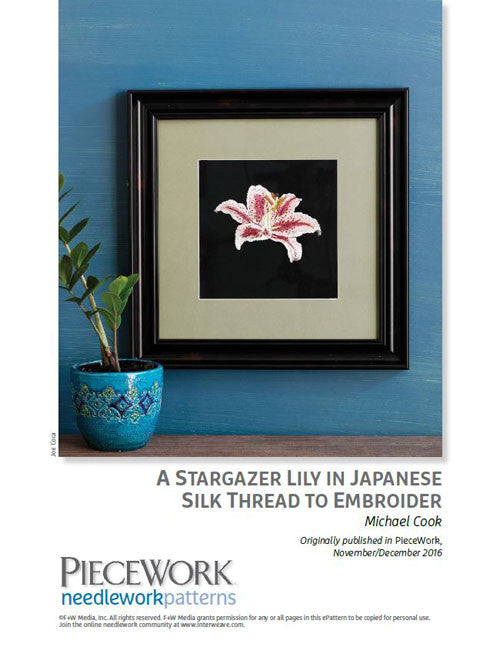 A Stargazer Lily in Japanese Silk Thread to EmbroiderImage