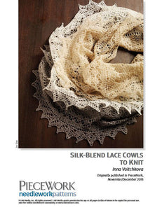 Silk-Blend Lace Cowls to Knit Knitting Pattern DownloadImage