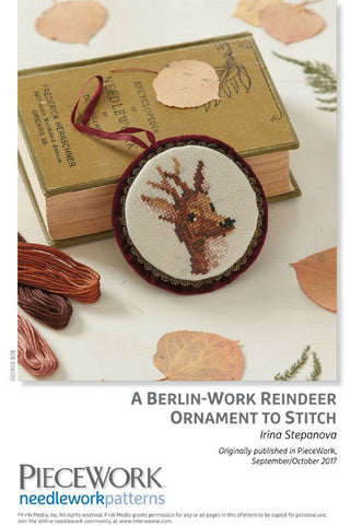 A Berlin-Work Reindeer Ornament to StitchImage