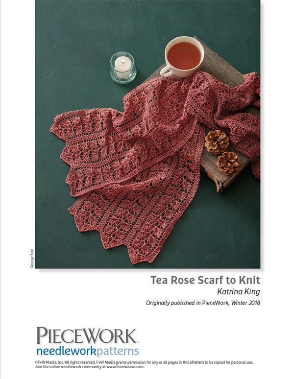 Tea Rose Scarf to Knit Pattern DownloadImage