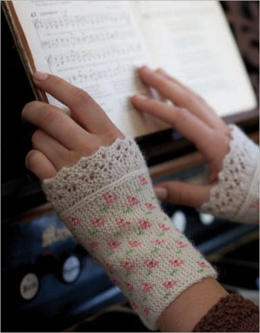 Flower and Lace Cuffs Knitting Pattern DownloadImage