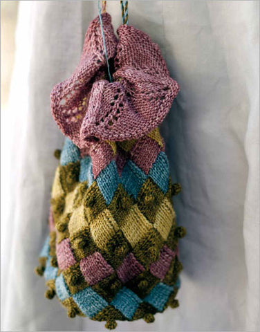 Entrelac Reticule with Bobble Trim Knitting Pattern DownloadImage
