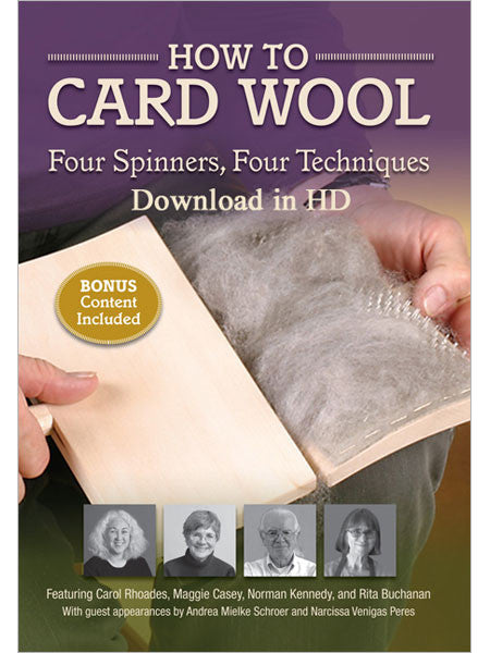 How to Card Wool: Four Spinners, Four Techniques Video DownloadImage