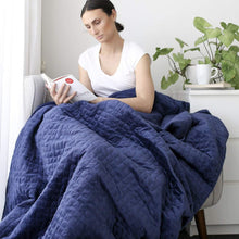 Load image into Gallery viewer, velvet blue weighted blanket being used by woman reading