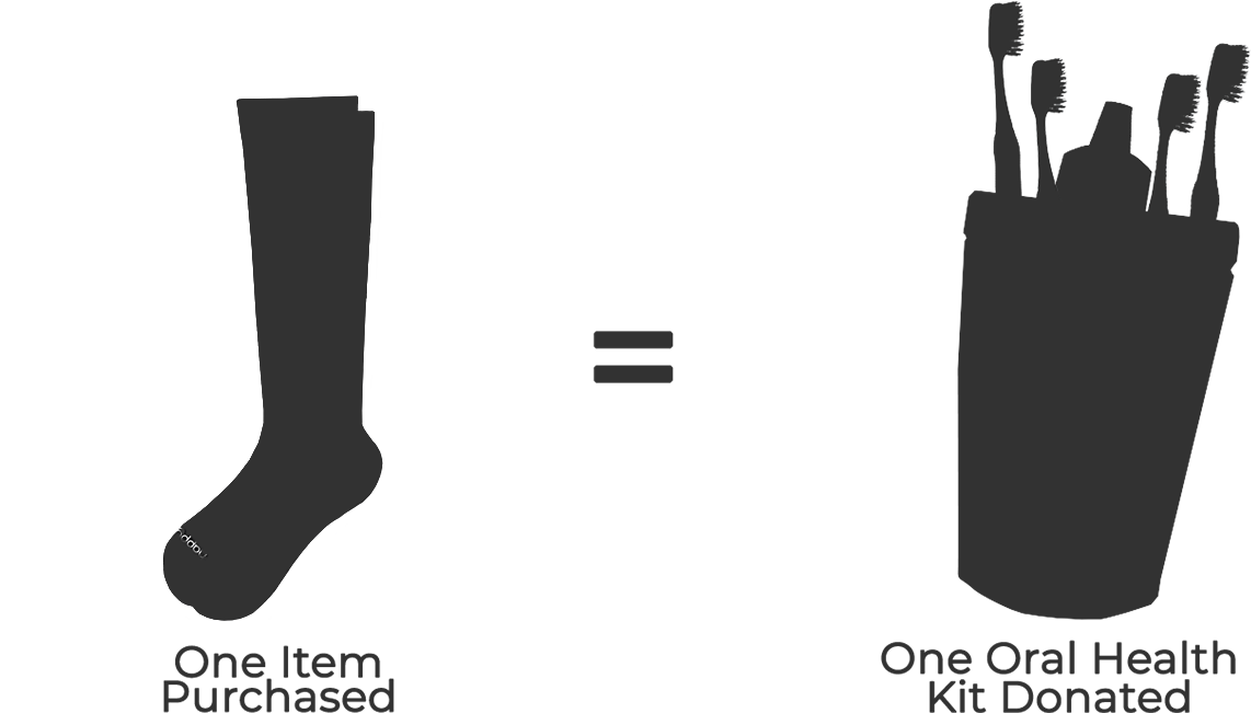 one item purchased equals one item donated graphic