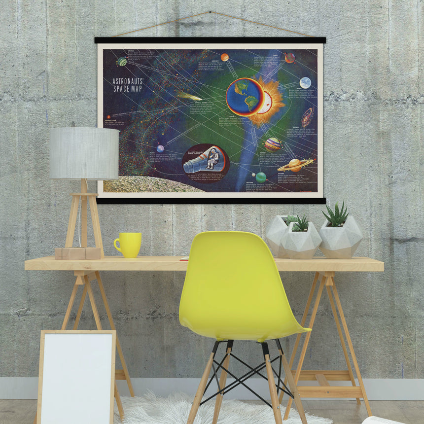 Astronaut Space map - Blue Shaker - Poster Affiche -
