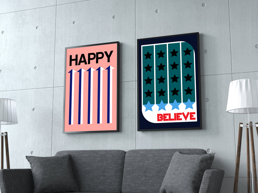 Happy - Blue Shaker - Poster Affiche -