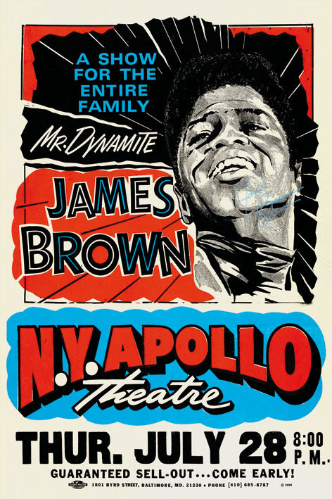 James Brown NY Apollo - Blue Shaker - Poster Affiche -