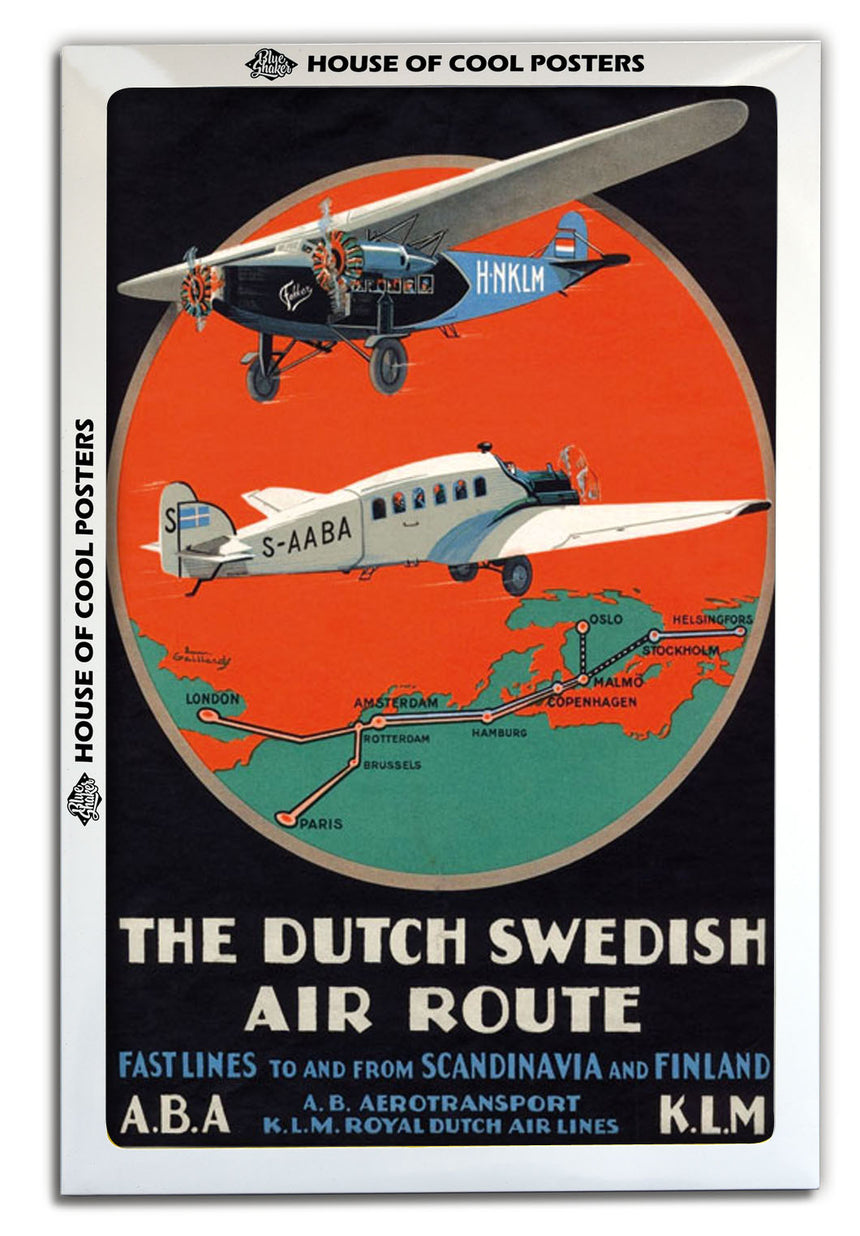 Dutch Swedish Air Route - Blue Shaker - Poster Affiche -
