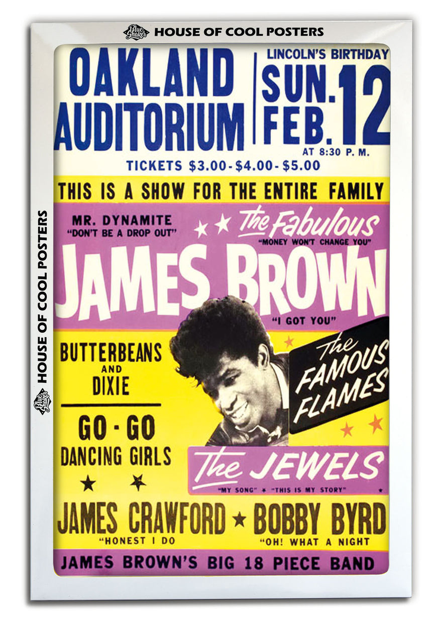 James Brown Oakland Auditorium - Blue Shaker - Poster Affiche -