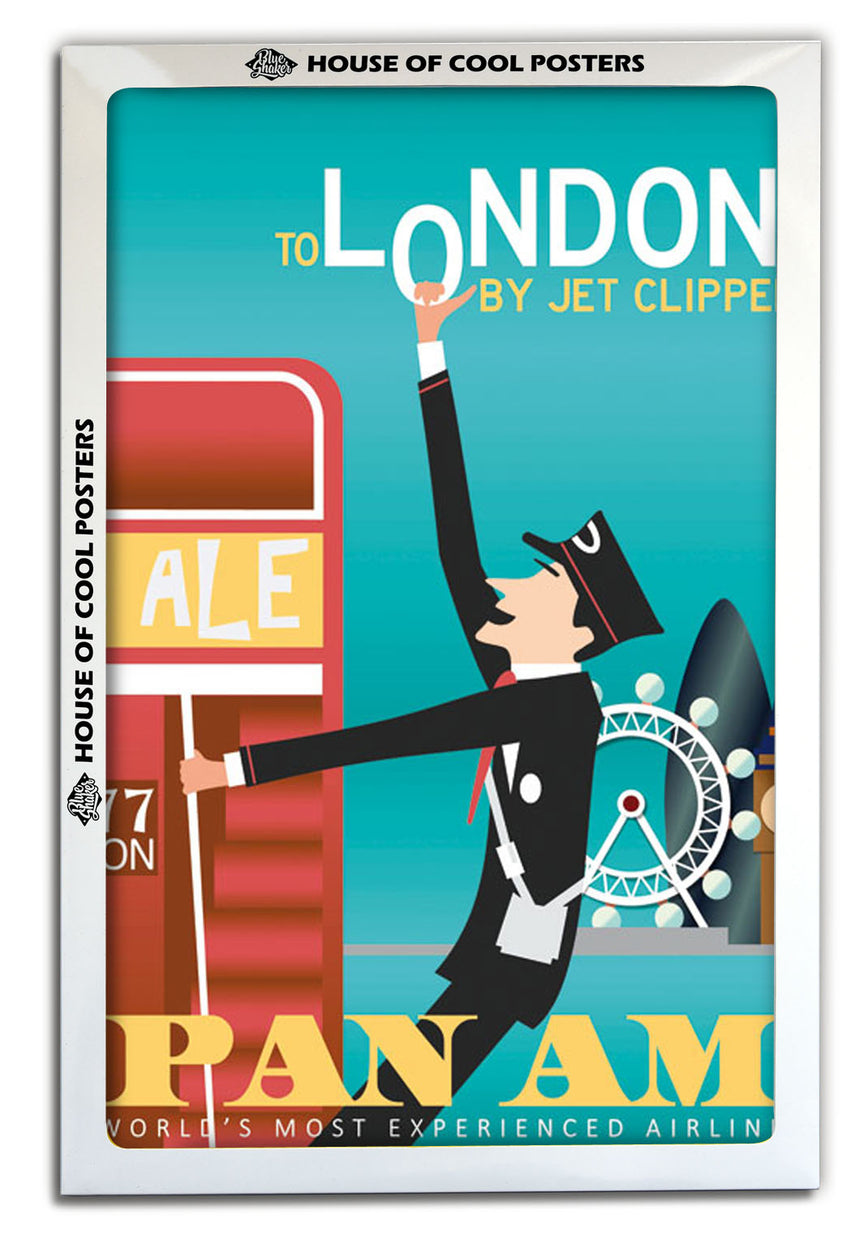 London PAN AM - Blue Shaker - Poster Affiche -