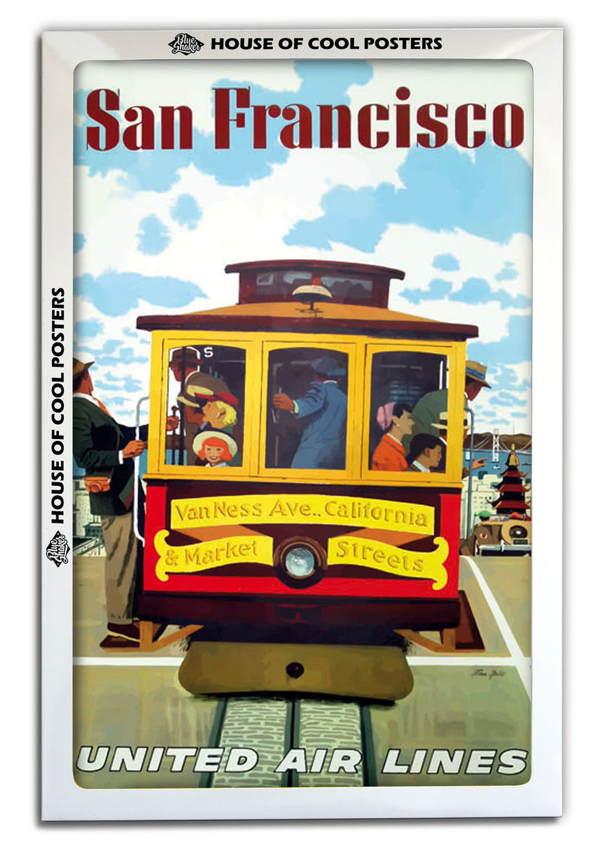 San Francisco United Airlines (Tramway) - Blue Shaker - Poster Affiche -