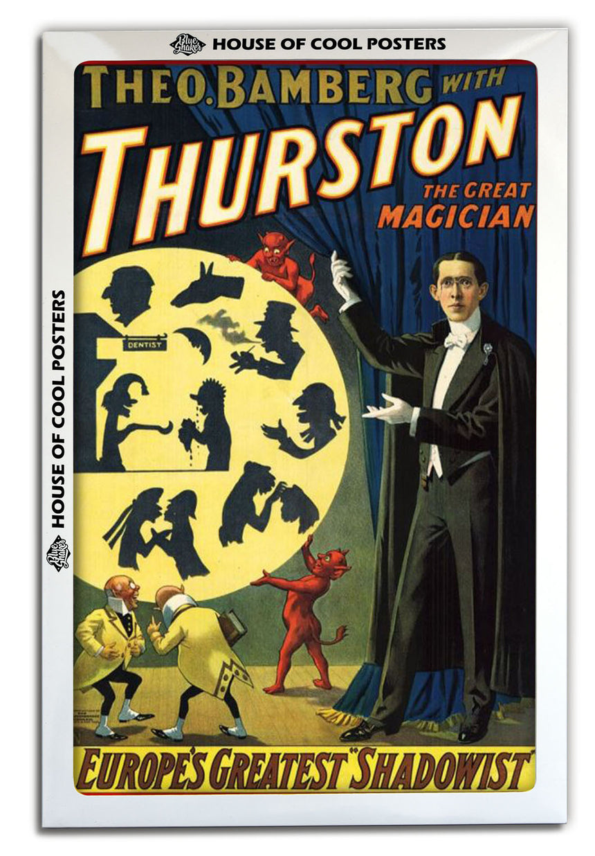 Thurston - Europe Greatest Shadowist - Blue Shaker - Poster Affiche -