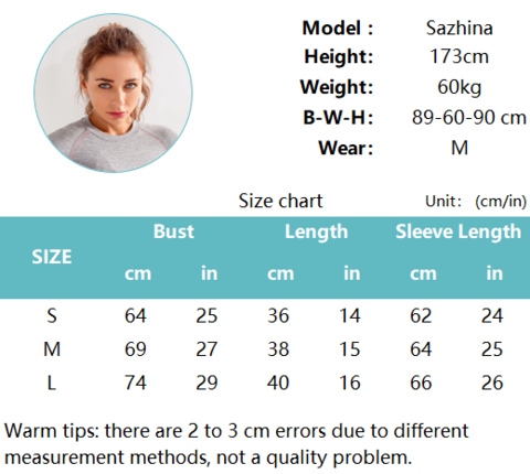 Model Specifications and Size Chart Of Seamless Gym Outfit Set