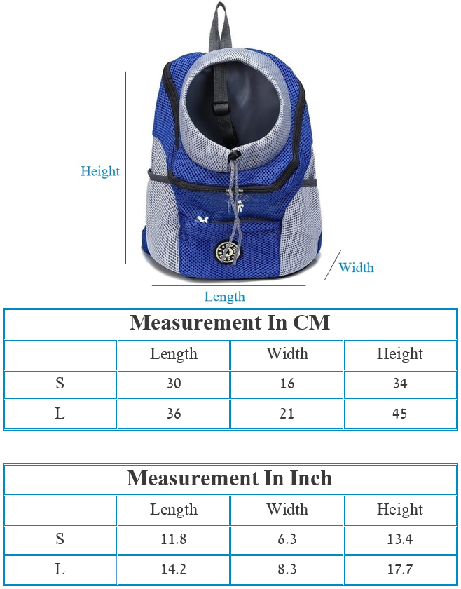 Pet and Dogs Carrier Bag - Size Chart