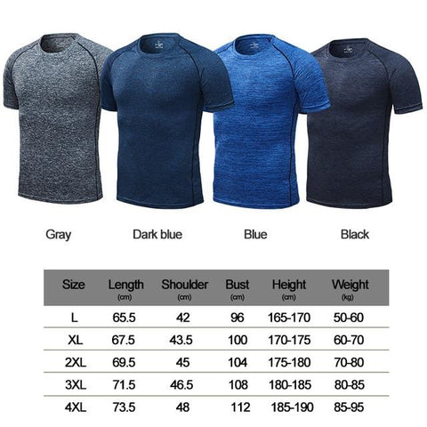 LiquidDiffuser - Quicky-Dry Sports T-Shirt Size Chart