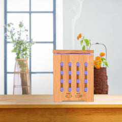 200ml Cube Bamboo Ultrasonic Humidifier Cool Design