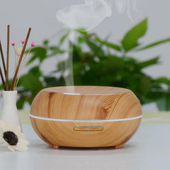 200ml Orb Ultrasonic Essential Oil Diffuser Humidifier Wood Grain
