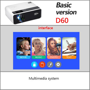 D60 Mini Projector - 1280x720P Resolution - LiquidDiffuser