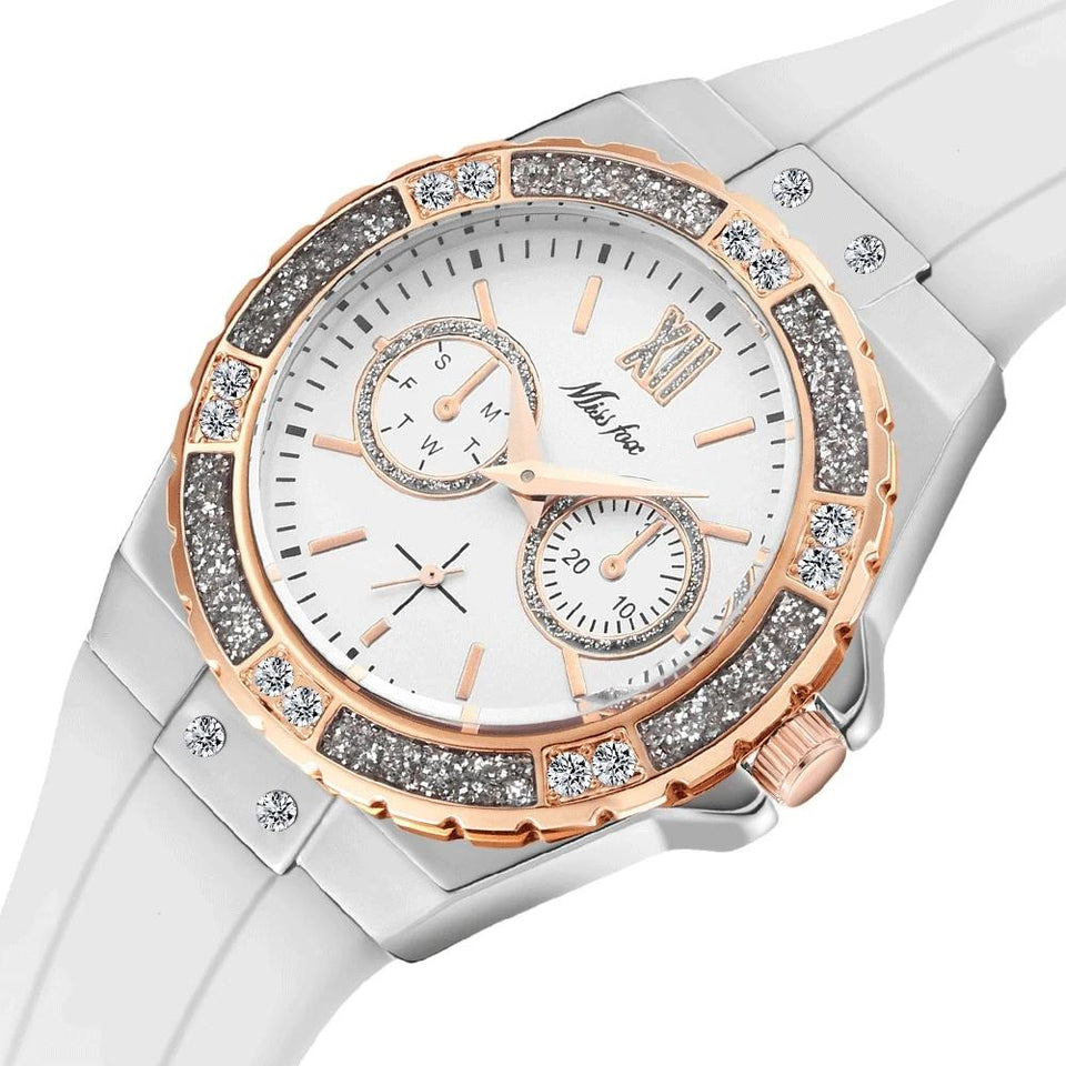 Women Luxury Diamond White Watch - LiquidDiffuser