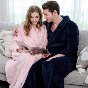 Long Coral Fleece Bathrobe