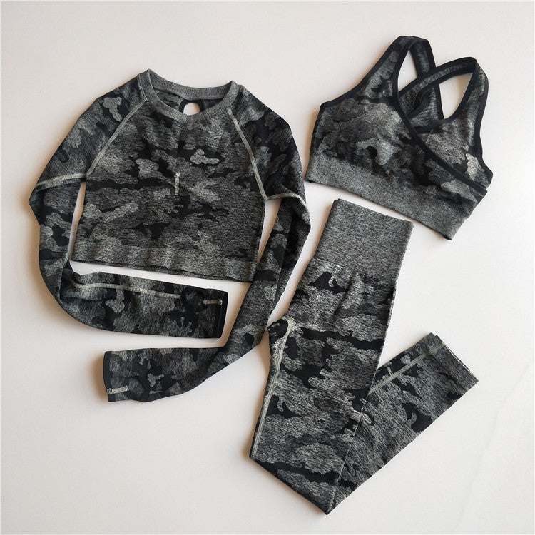3PCS Camo Seamless Yoga Set Sports Wear  Women Fitness Clothing Yoga Leggings+Sport Bra+Long Sleeve Crop Top Gym Sports Suits - LiquidDiffuser