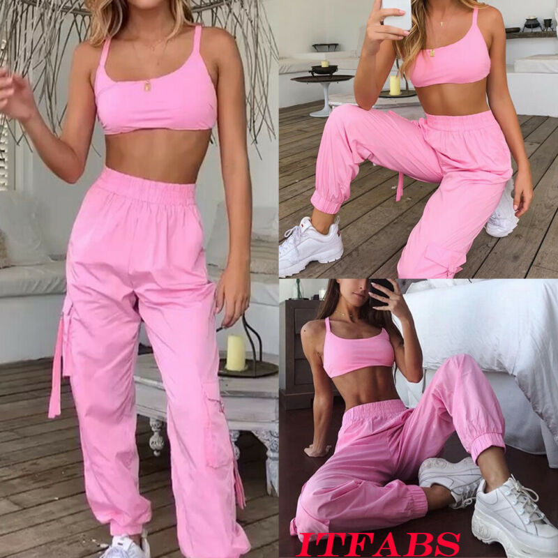Women's Sleeveless Fitness Crop Top + Pants Shorts Leggings Workout Tracksuit Sports Wear Set Gym Running Suit - LiquidDiffuser