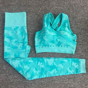 2PCS Camouflage Camo Yoga Set Sports Wear For Women Gym Fitness Clothing Booty Yoga Leggings + Sport Bra GYM Sport Suit Femme - LiquidDiffuser