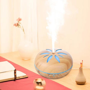 550ml Wood Grain Flower LED Humidifier - LiquidDiffuser
