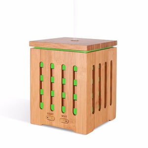 200ML Cube Bamboo Ultrasonic Humidifier - LiquidDiffuser