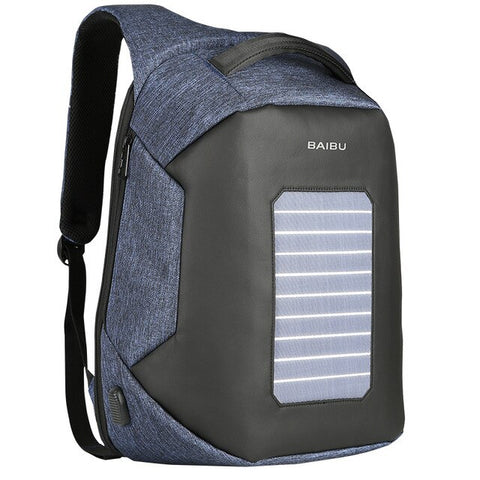 BAIBU Men Backpack Solar Powered USB Charging Backpack Business High-tec 15.6'' Laptop Back Packs Anti-theft Bagpack Waterproof
