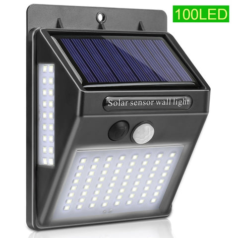 Goodland 100 LED Solar Light Outdoor Solar Garden Light PIR Motion Sensor Solar Lamp Powered Sunlight Street Lamp for Decoration