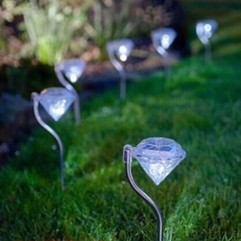 Solar garden Light 4pcs LED Diamond Lawn Light Solar Lamp Outdoor Waterproof Landscape Pathway Fence Lamp for Garden Decoration