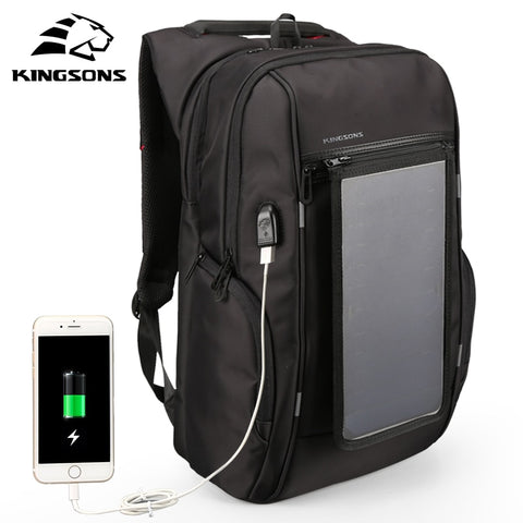 Kingsons Solar Charging Backpack for Men  Laptop Computer Backpack 17-17.1 inch Male Backpack Waterproof Mochila Hombre
