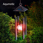 Aqumotic Solar Lighted Wind Chimes Black Led Color Changing Solar Wind Chime Light Up Outdoor Garden Decorative Lights