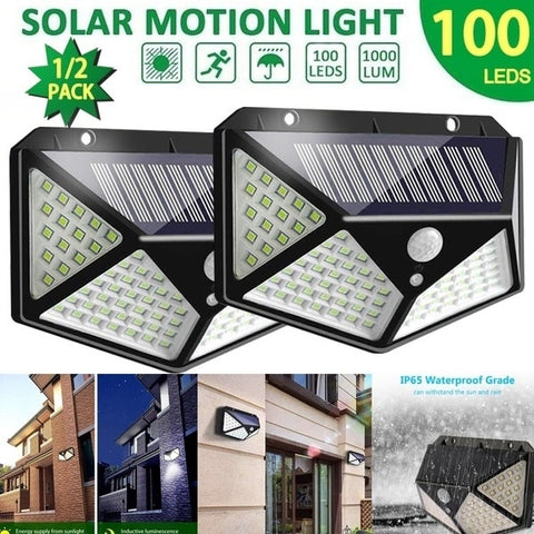 100 LED Four-Sided Solar Power Light 3 Modes 270 Degree Angle Motion Sensor Wall Lamp Outdoor Waterproof Yard Garden Lamps