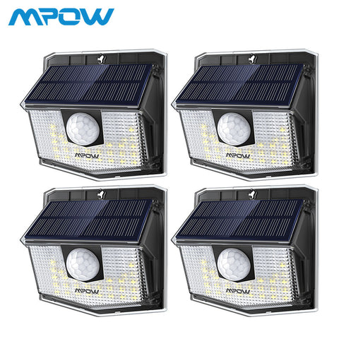 Mpow 30 LED Solar Light Outdoor PIR Motion Sensor Lights 1/2/4 Pack 19.5% High-efficient Solar Panel 270 Wide Illumination Angle
