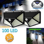100 LED Four-Sided Solar Power Light 3 Modes 270 Degree Angle Motion Sensor Wall Lamp Outdoor Waterproof Yard Lamps