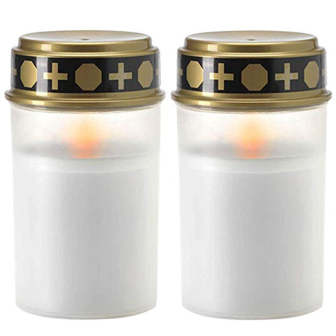 2PCS Candle Lamp Home Tea Light Grave Holloween Cemetery Ritual Energy Saving Decoration Solar Powered Flameless Led Electronic