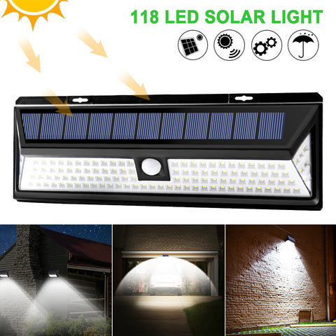 Outdoor 118 LED 3 Modes Solar Light PIR Motion Sensor Solar Wall Lamp Waterproof IP65 Security Lamps For Garden Yard Outside
