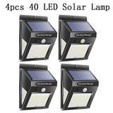 30/40 LED Solar Power Lamp PIR Motion Sensor Pack of 1/2/4 Wall Light Outdoor Waterproof Energy Saving Garden Security Lamp