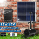 Solar Power Fountain 15W Solar Panel+Brushless Water Pump Kit with Battery Remote Control for Garden Pond Bird Bath