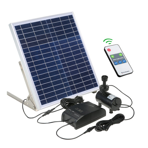 Solar Power Fountain 15W Solar Panel + 3.6W Brushless Water Pump Kit with Storage Battery Remote Control for Garden Pond