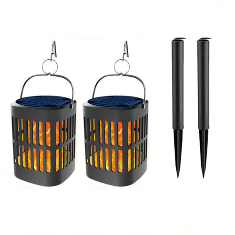 2 Pcs Solar Lanterns Lights Flickering Dancing Flames Hanging Lanterns Solar Powered and USB Charging Flame Lights Outdoor Water