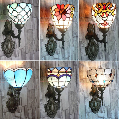 Tiffany Mediterranean Single Head Wall Lamp American Art Hall Hall Lantern Bathroom Bedside Mirror Front Lighting
